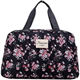 Di Grazia Women's Floral Travel Shopping Tote Luggage Bag (Black)
