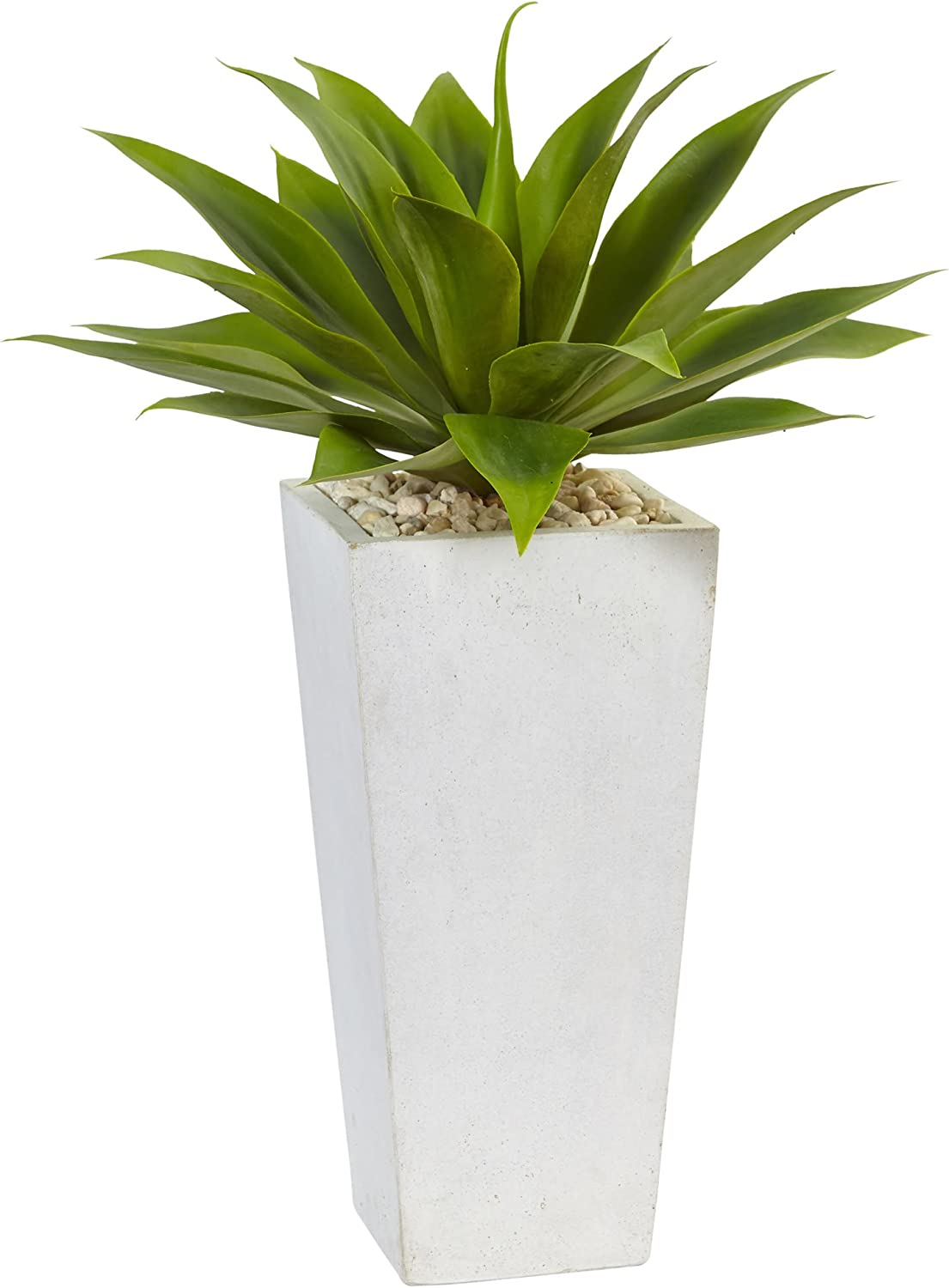 Nearly Natural Green 1 Agave Artificial Plant In White Planter 18 X 18 X 25 Home Kitchen