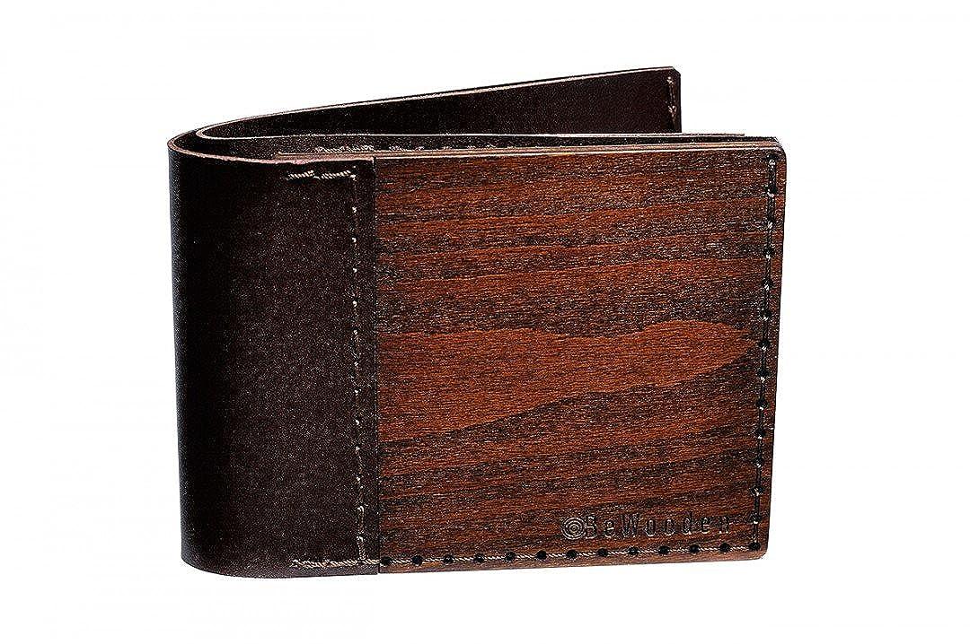 Cartera de cuero y madera Brunn Virilia - cartera para hombre - cartera marrón - cartera para monedas, billetes y tarjetas - original y hecha a mano: ...
