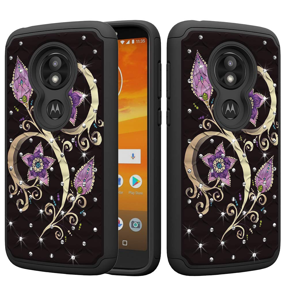 DAMONDY Moto E5 Play Case,Moto E5 Cruise, Bling Glitter Diamond 2 in 1 Drop Protection Hybrid Heavy Duty Shock Dual Layer Armor Defender 3D Pattern Case Cover Fit for Moto E5 Play-CAI Dream