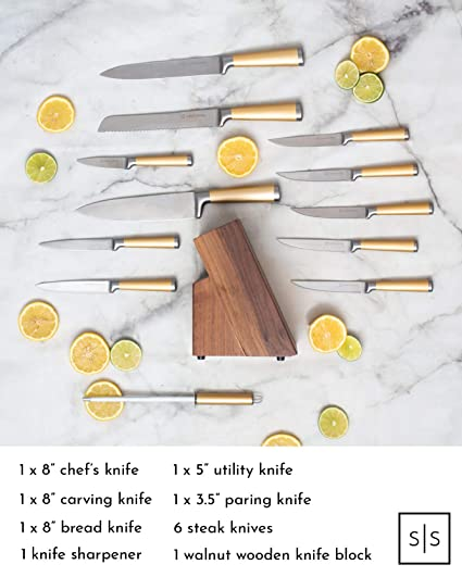 Gold Knife Set with Walnut Knife Block, 12-piece Kitchen Knives Stainless Steel Gold Knives Set, Premium Upgraded Steel Full Tang, Knives Gold - Gold ...