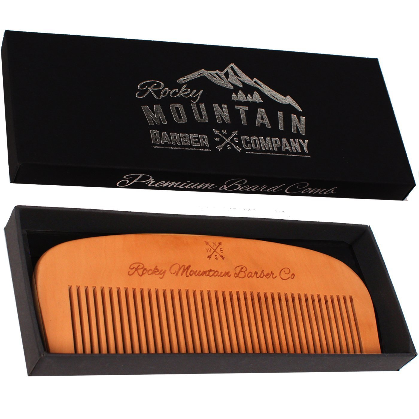 Hair Comb - Wood with Anti-Static & No Snag Handmade Brush for Beard, Head Hair, Mustache with High Quality Design in Gift Box by Rocky Mountain Rocky Mountain Barber Company BC-10