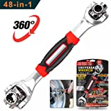 DKPO 48-in-1 Multifunctional Socket Wrench,Multi-angle Wrench with 6 Corners, 360-Degree Rotating Head,Rubber Handle
