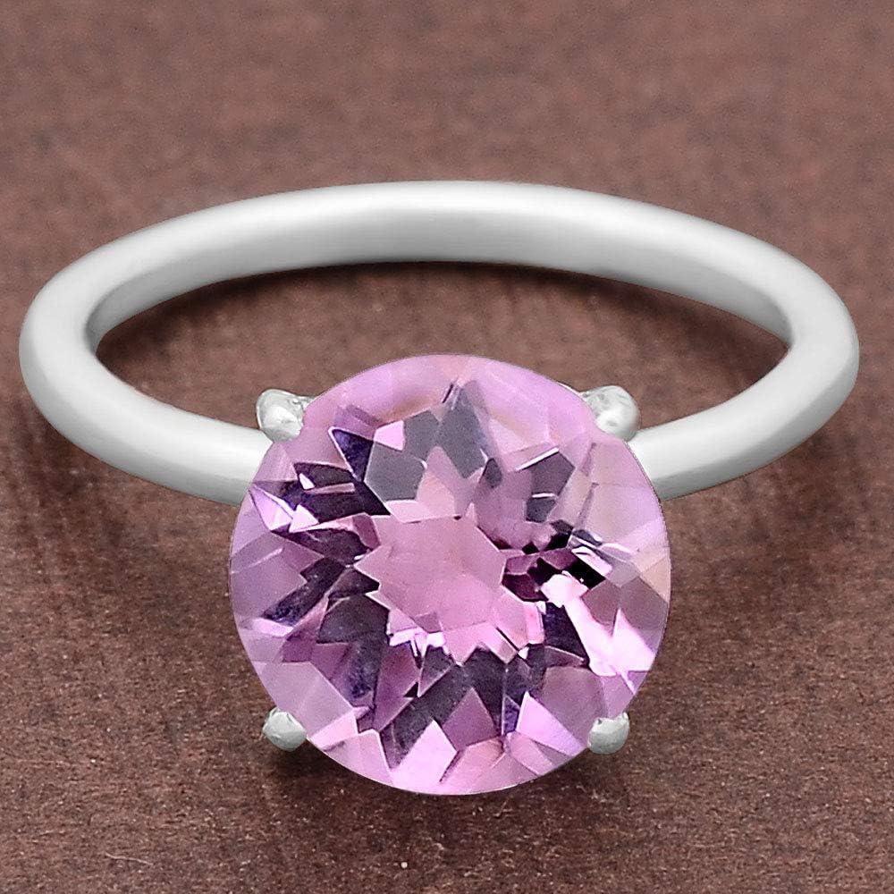 Desiregem Natural Amethyst 10x10 MM Round Shape 925 Sterling Silver Ring Size 6-10 DGR6005/_A