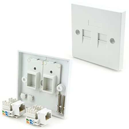Double RJ45 Wall Socket: Amazon.co.uk: DIY & Tools