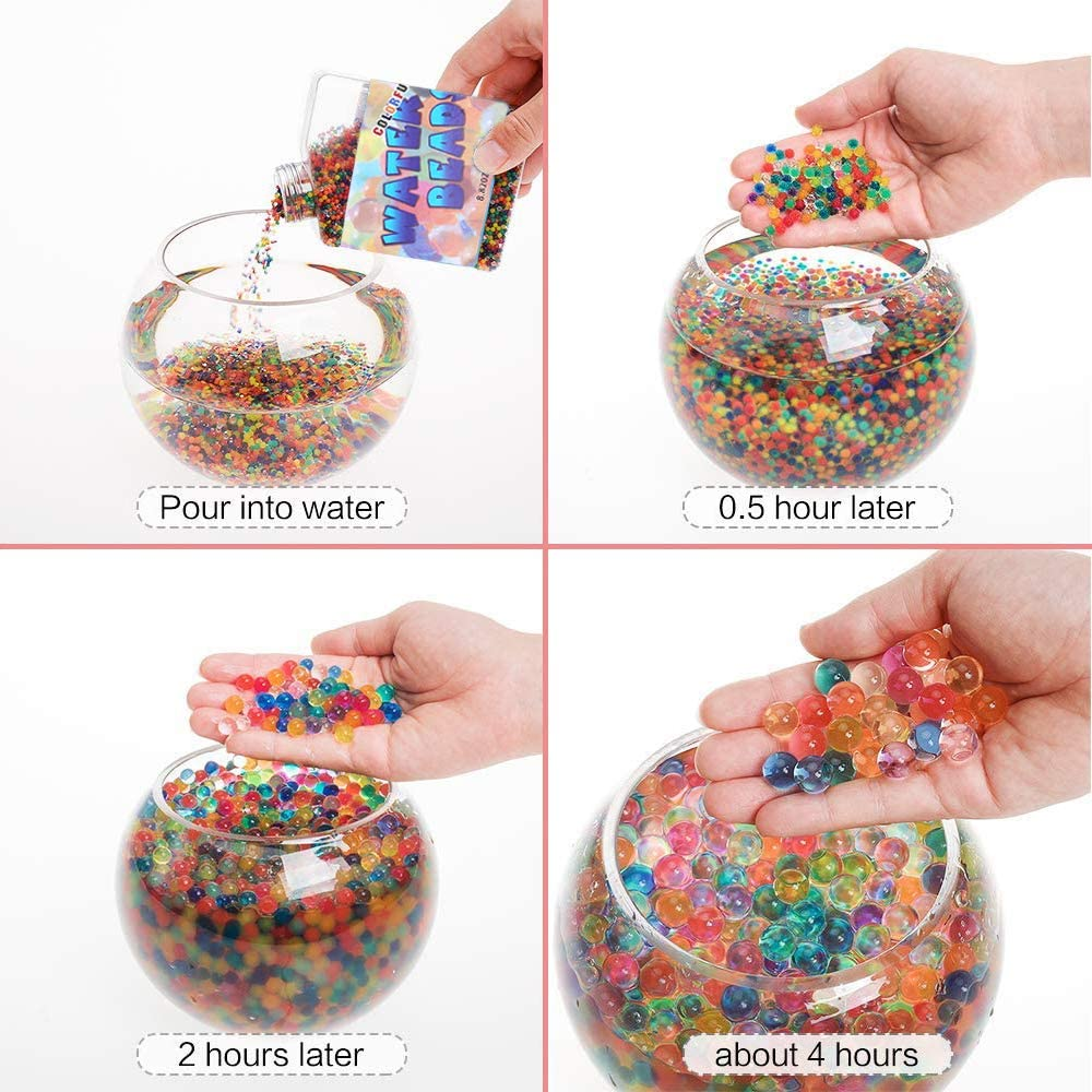 HosDen Colorful Water Beads 50,000 Pcs Water Crystal Beads Gel Soil Balls Jelly Water Gems Vase Filler for Plants Home Decoration