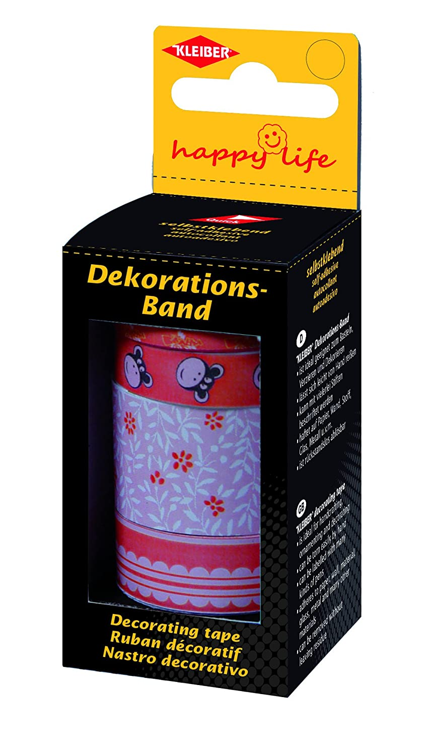 Red Kleiber 5// 10// 15// 25 mm Coloured Adhesive Sticky Tape for Wrapping// Decoration Pack of 4 Rolls