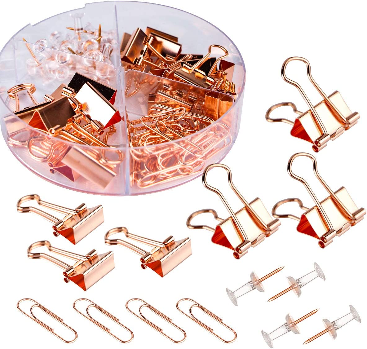 Push Pins Binder Clips Paperclips Sets for Office, School and Home Supplies, Desk Organized, 72 Pcs Assorted Sizes (Rose Gold)