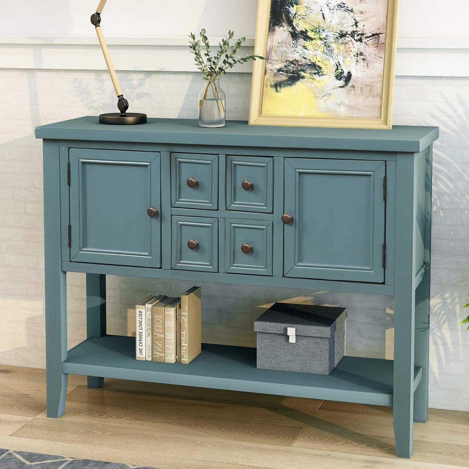 Retro Blue P PURLOVE Console Table Buffet Sideboard with Storage Drawers Cabinets and Bottom Shelf