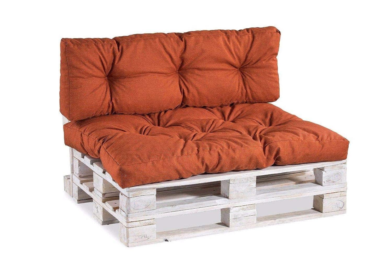 Palettenkissen Palettenauflagen Sitzkissen Rückenlehne Gesteppt (Set (Sitzkissen 120x80 +Rückenlehne 120x40), Orange)