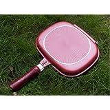MSE Double Sided Ceramic Coated, Magic Pan Gas Grill Fryer Pan , Flip Pan, Dishwasher Safe Frying Pan