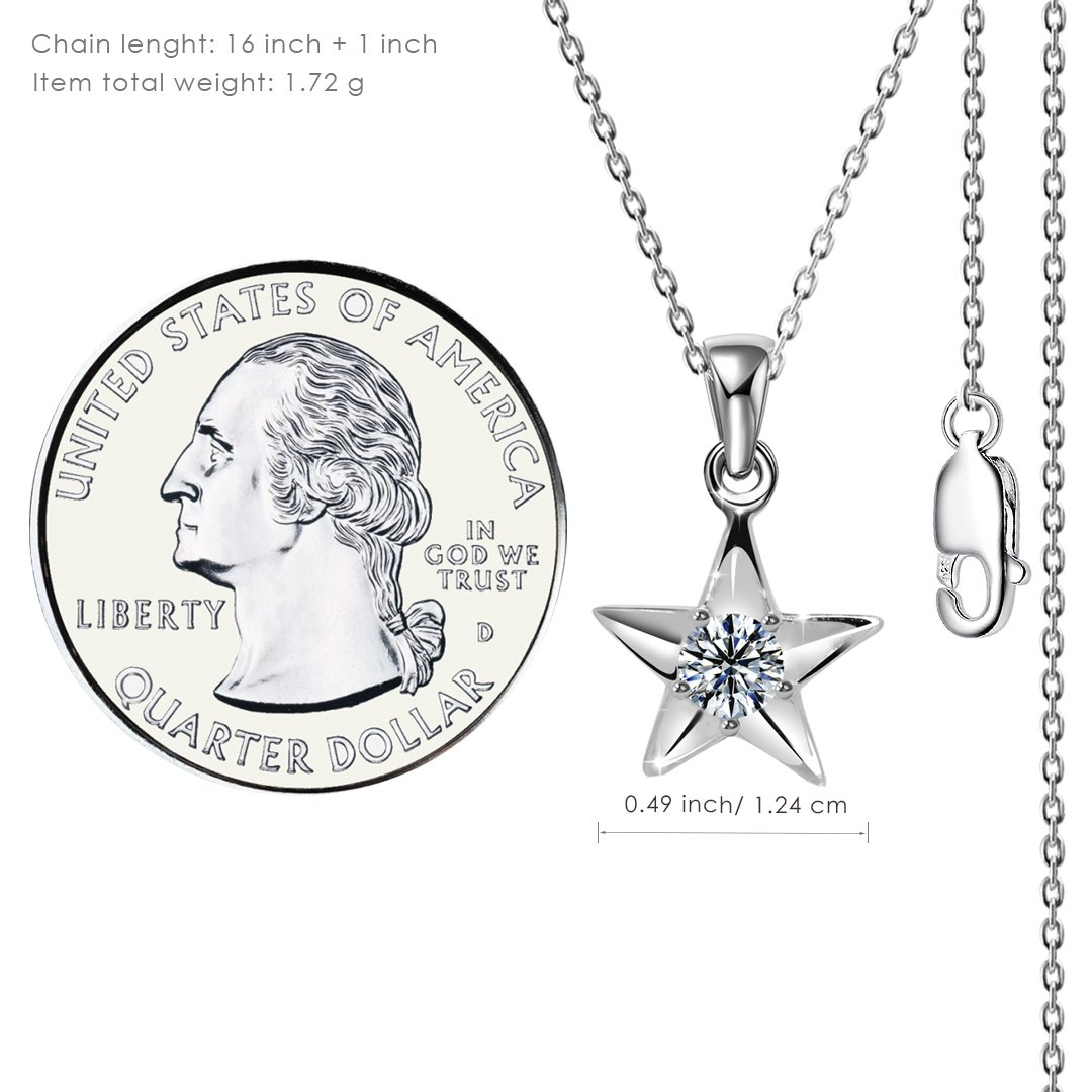 Kigmay Jewelry 925 Sterling Silver Clear CZ Five Point Patriotic Star Pendant Necklace for Women
