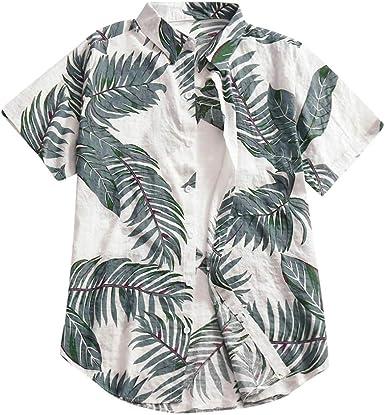 Camisas Hombre Verano Hawaii Vacaciones Manga Corta Impresión ...