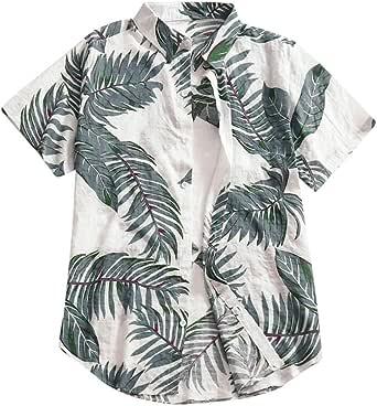 Skang Camisa Hawaiana para Hombre Original Suelto Funky Hojas Estampado con Botones Polos Blusa Tops Tallas Grande S-5XL
