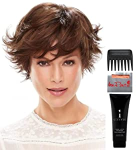 Bundle - 5 items: Meg Wig by Jon Renau, Christy's Wigs Q & A Booklet, 2oz Travel Size Wig Shampoo, Wig Cap & Wide Tooth Comb - Color: FS24/102S12