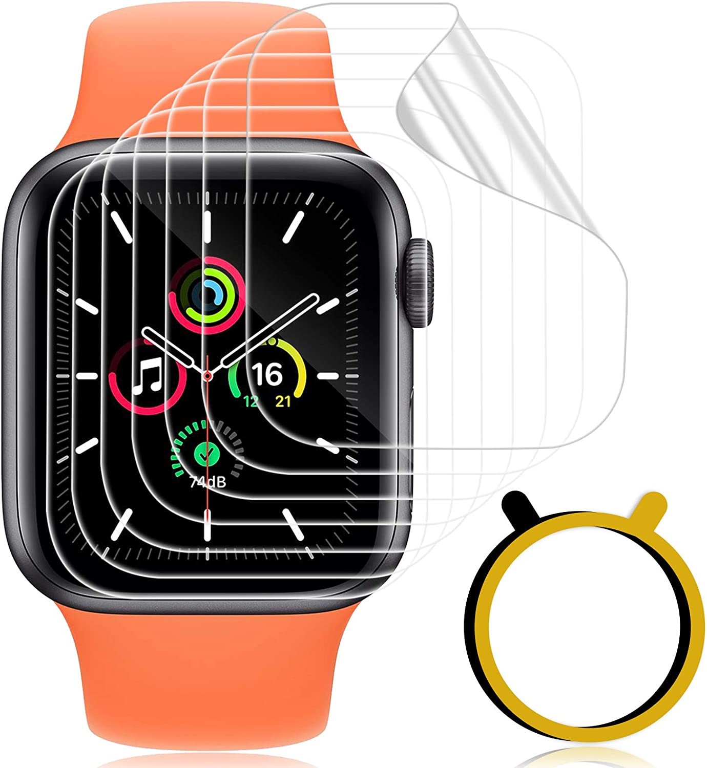 [7 Pack] GEAK Flexible TPU Screen Protector for Apple Watch 42mm Series 3 2 1, Self Healing HD Bubble-Free Film for iWatch 44mm SE Serise 6 5 4, Clear