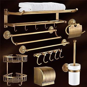 Estante de toalla juego de colgante de hardware de cobre antiguo del hardware del cuarto de baño estante europeo del estilo barra de toalla: Amazon.es: ...