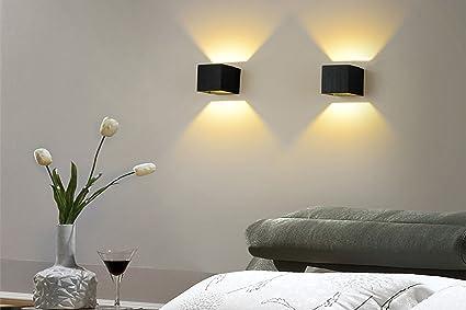 Worled lampada applique led w motivo moderno quadrato argento da