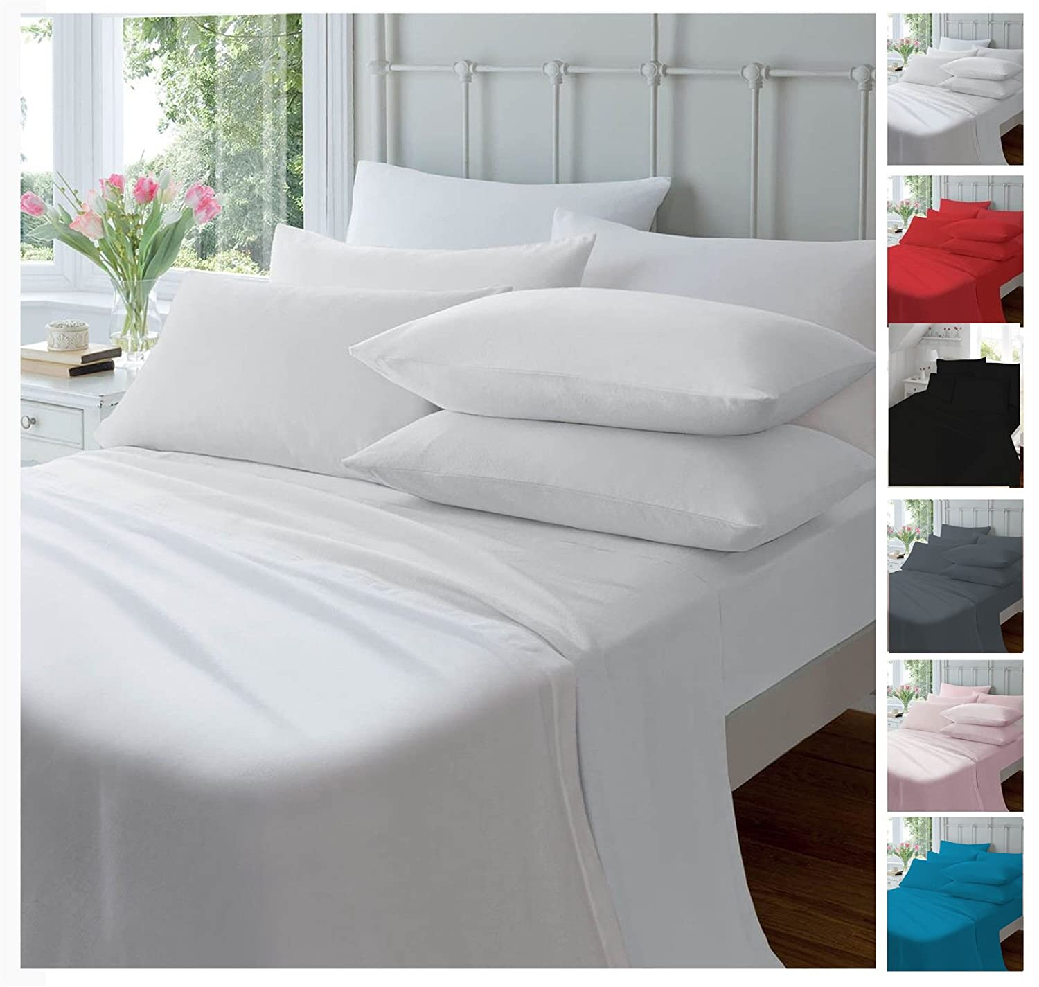 Flannelette Brushed Cotton Top Flat Sheet Single Double King All Colours