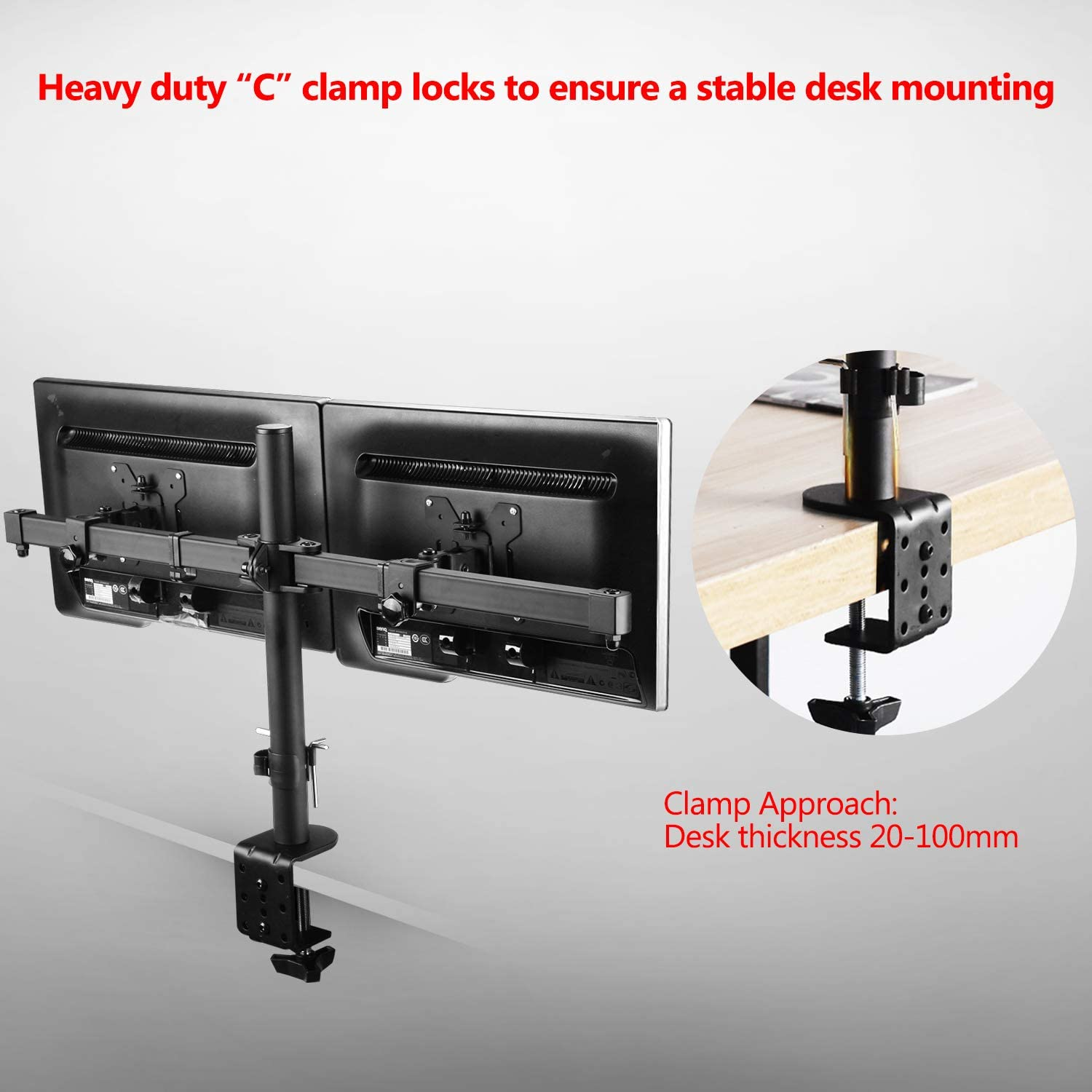 Rotate 360/° MAIDeSITe Dual Monitor Stand Adjustable Height monitor mount arm for 13-27 inch LCD LED Monitor Computer PC Screens Ergonomic Double Arms Stand Desk Mount Bracket Tilt 90/° Swivel 180/°