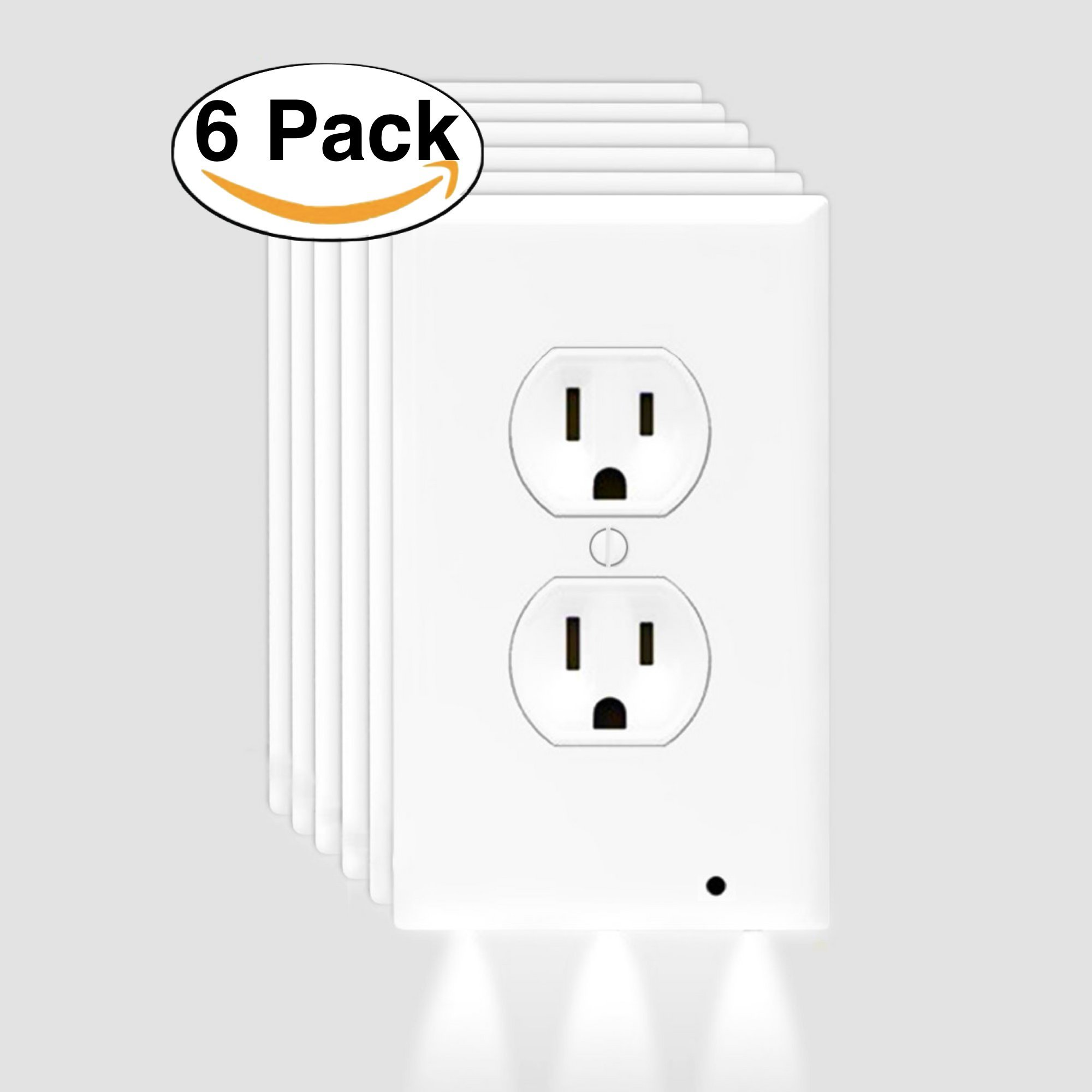 Goldstern SIX Pack Outlet Wall Plate With LED Night Lights - Pathway Lighting Outlet Cover - Lighted Electrical Outlets - Easy Install - (6 PACK)