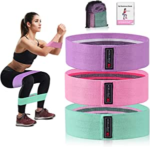 Strength Booty Fabric Bands, Xcellent Global 3 Pcs Non-Slip Fabric Resistance Bands for Butt, Leg & Arm, Circle Workout Hip Bands with Varied Resistance Levels