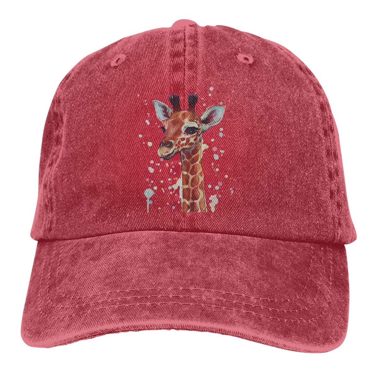 Qbeir Adult Unisex Cowboy Cap Adjustable Hat Waterproof Giraffe Painting Cotton Denim