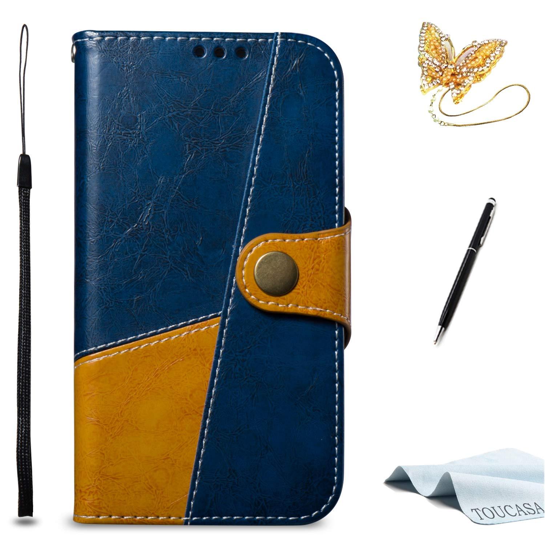 TOUCASA Coque S7 Edge,Housse S7 Edge, Coque Cuir PU Portefeuille à Aimant Style de Parapluie rétro Étui pour Samsung S7 Edge-Coque Bleu Marron s2018819s60009