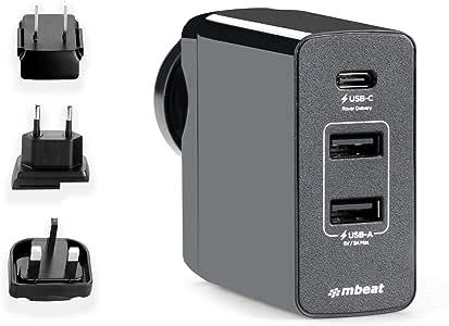 mbeat Gorilla Portable 45W Power USB-C & USB-A Universal Travel USB Charger AU/US/UK/EU