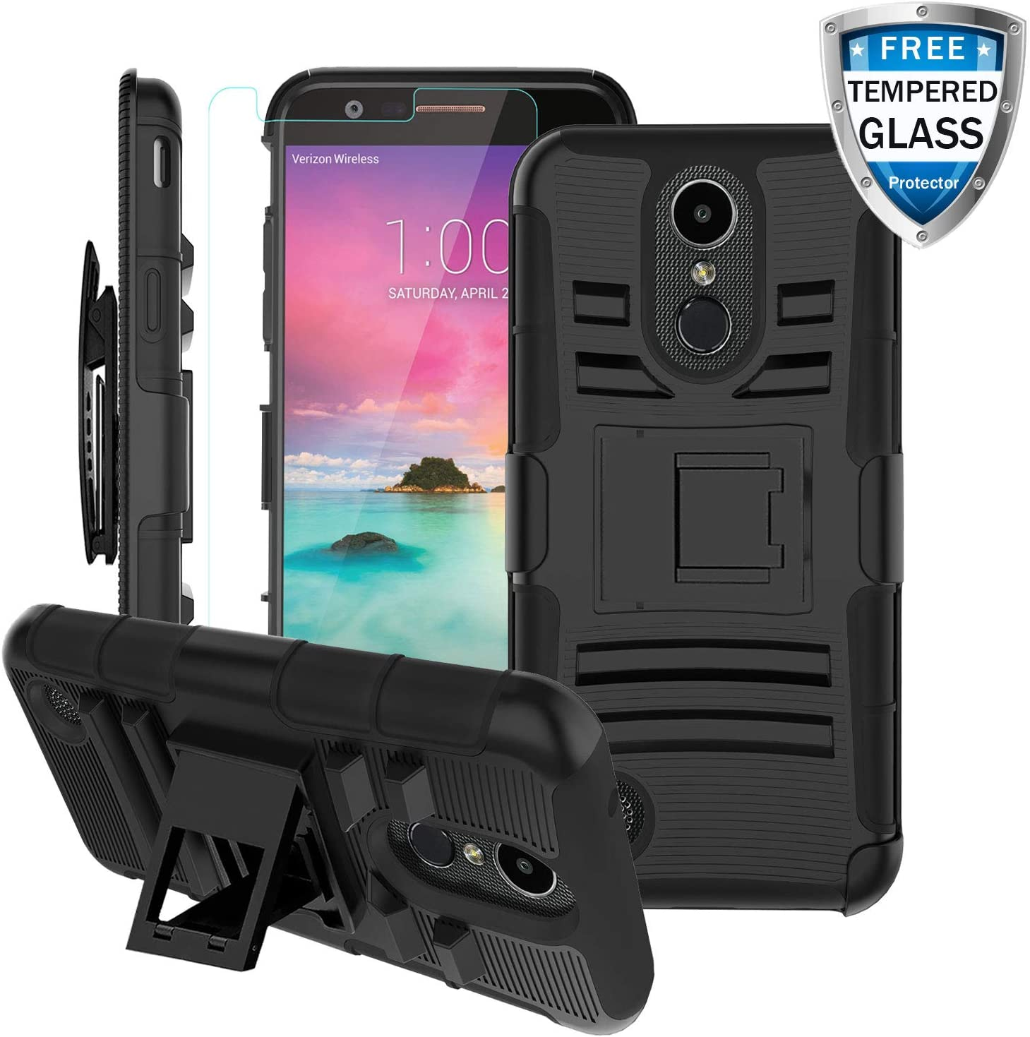 BEBEST-LG K20 Plus Case, LG K20 V/LG Harmony/K10 2017/LV5 /VS501/LG Grace LTE Phone Case w/Screen Protector&Kickstand&Belt Clip[Shockproof Bumper] Rugged Heavy Duty Full Body Protective Cover-Black