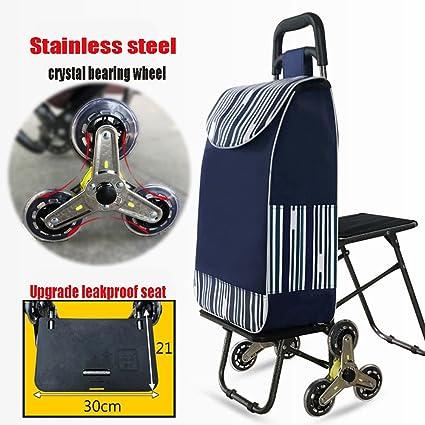Amazon com : WE&ZHE Portable Tri-Wheel Folding Shopping Cart