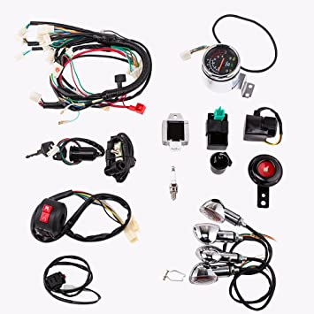 71irjJ0JbAL._SY355_ amazon com full electric start engine wiring harness loom 110cc engine wiring harness at soozxer.org