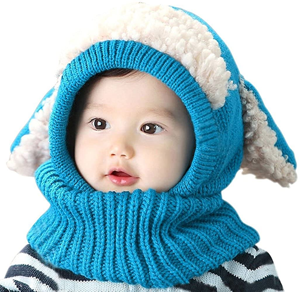 b0a29bb3d Winter Baby Hats - Kids Girls Boys Warm Hat - Knit Scarf Earflap Hood  Scarves Skull Caps - Baby Clothes Set Blue: Amazon.co.uk: Clothing