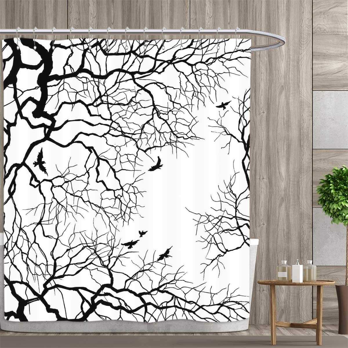 amazon anniutwo nature shower curtains digital printing birds 108 Wide Quilt Backing Fabric digital printing birds flying over twiggy tree branches stylish autumn season sky view artwork satin fabric bathroom washable 108 x72 black and white