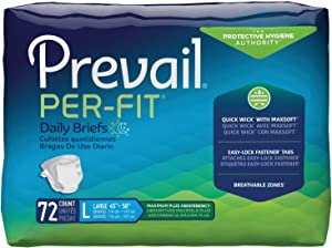 Prevail Per-Fit Protective Underwear, Maximum Plus Absorbency, Large, 18 Count (Pack of 4 (72 Count))