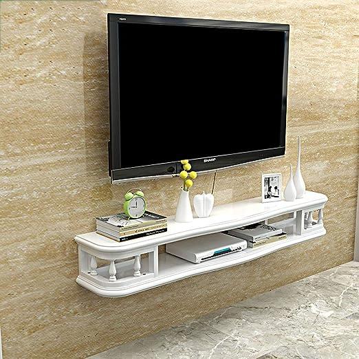 Estante Estante de soporte de TV flotante blanco Estante Rack Gabinete Unidad de estantería de juegos de entretenimiento multimedia Estantería de pared Muebles para el hogar (Tamaño : 100cm) : Amazon.es: Hogar