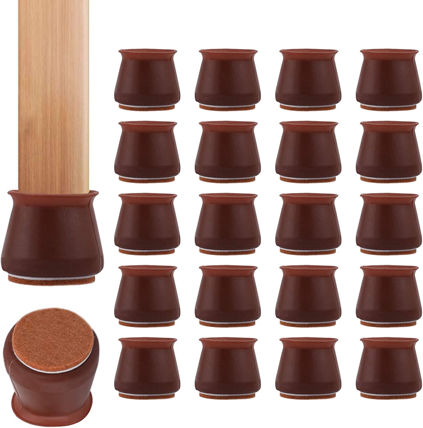 [36 Pack] Maylai Chair Leg Protector Caps, Felt Bottom Soft Silicone Furniture Foot Cup Pads Furniture Table Feet Covers for Floor Scratchless, Noiseless [Dark Red] (1.17'' to 1.77'')