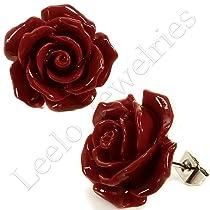 Coral Deep Red Rose Stud Earrings