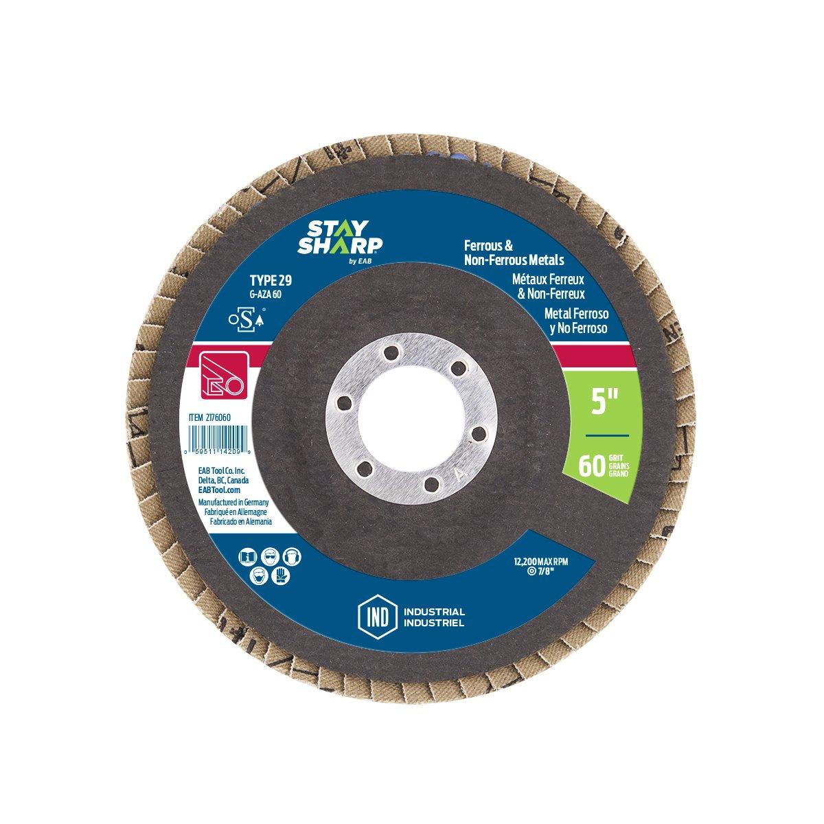 EAB Tool 2176040 5 x 40 Grit Standard Wood & Metal Flap Disc EAB Tool Company USA Inc