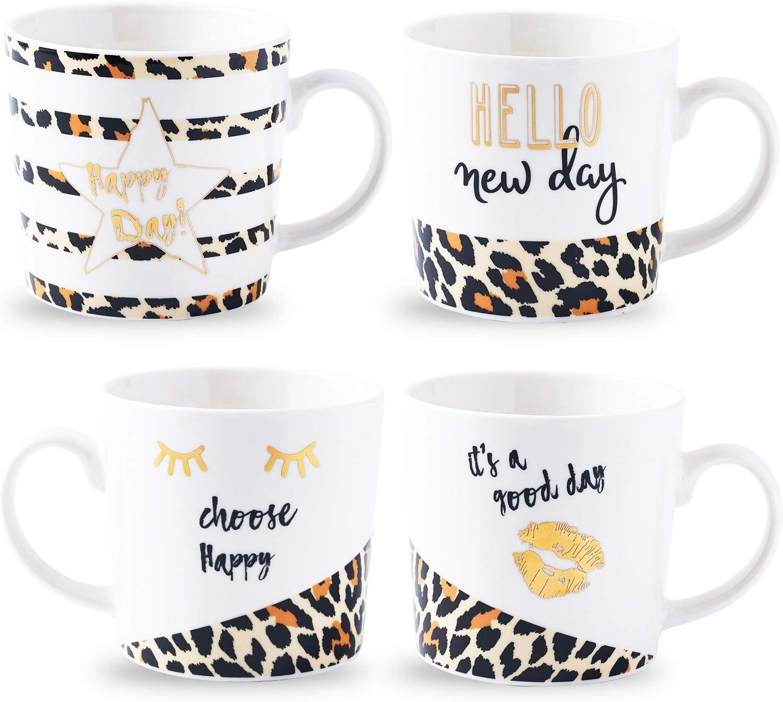 Funny Mug Gift Set Bruntmor Stacking Ceramic Bone China Love Inspirational Coffee//Tea Novelty Mug set Blue Theme gorgeous pastel colors Him And Her Gifts -Holiday or Birthday Present 14 Oz