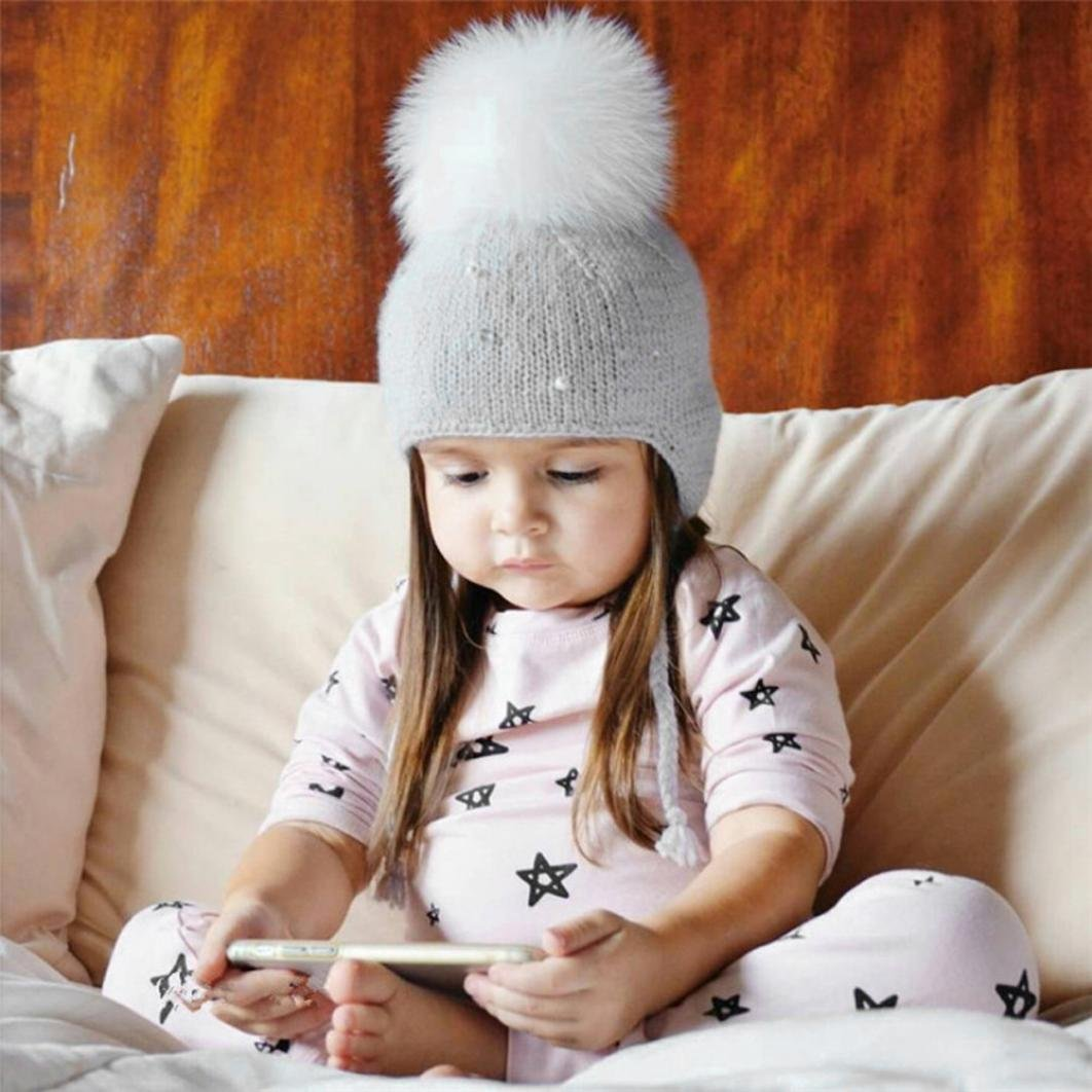 Hunputa Baby Hat Winter Kids Winter Knitted Pom Beanie Bobble Hat Faux Fur Ball Pom Pom Pearls Cap Unisex Kids Beanie Hat