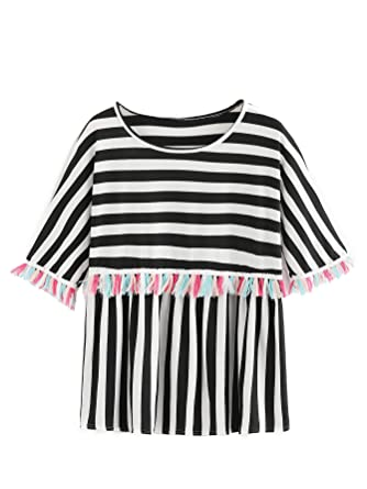 b0ae22c3c1 Romwe Women's Short Sleeve Colorblock Striped Print Fringe Trim Ruffle Tee  Blouse Top Black S