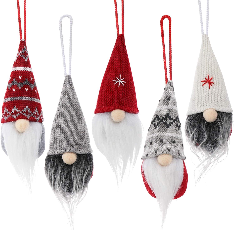 ABSOFINE Gnome Christmas Ornaments 5Pcs Swedish Gnome Handmade Tomte Little Gnomes Xmas Hanging Decorations Scandinavian Santa Ornaments for Christmas Tree Home Decor, 5 Pcs