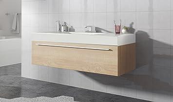 Badezimmer Badmöbel Garcia 120 Cm Eiche Hell Unterschrank Schrank