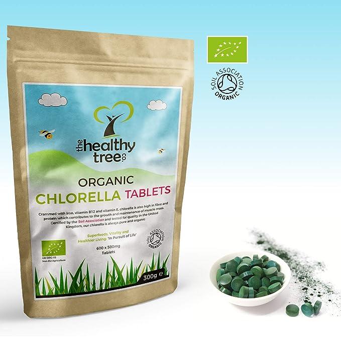 TheHealthyTree Company Tabletas de Chlorella Orgánica - Pared Celular Rota - 600 x 500mg (300g): Amazon.es: Salud y cuidado personal