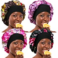 ASHILISIA 4 Pcs Wide Elastic Band Satin Sleep Bonnet Soft Night Sleeping Cap for Women