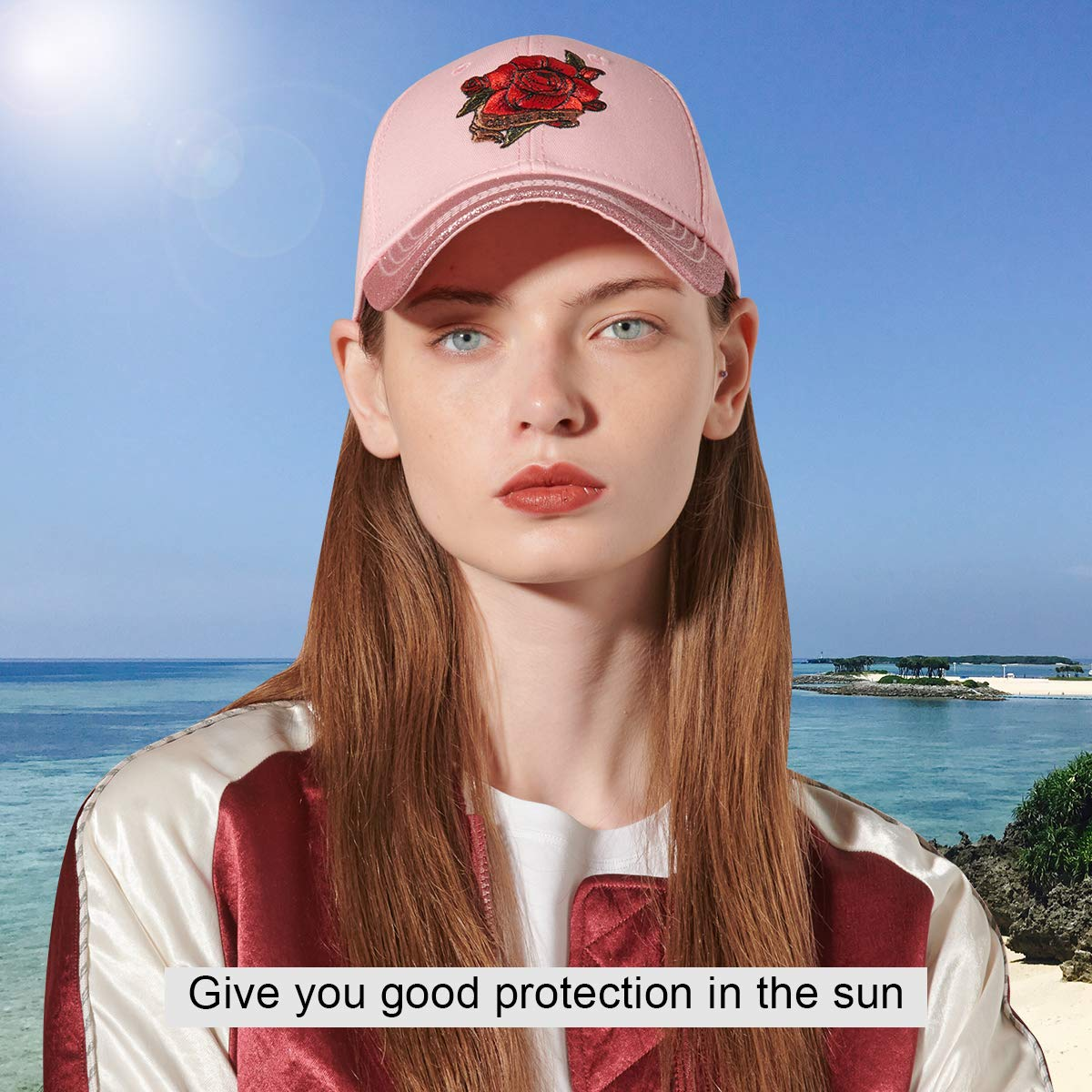 CACUSS Damen bestickte Kappe verstellbar Basecap Snapback Sommer Kopfbedeckung schildm/ütze cappy Frauen