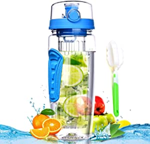 Fruit Infuser Water Bottle 32 oz: Flavored Water & Tea Infusion for Hydration, Protein Shake Sports Container, Leak-Proof Lid, Long Infuser Basket – with Sleeve, Cleaner Brush -Blue
