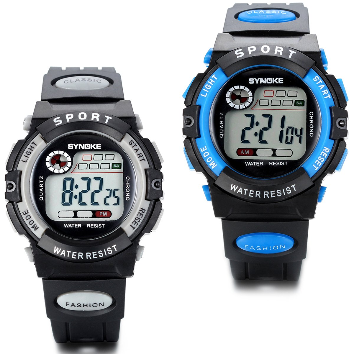 Jewelrywe 2PCS Boys Girls Digital Wristwatch Quartz Alarm Calendar Noctilucent Outdoor Sport Watches Birthday Christmas Gift