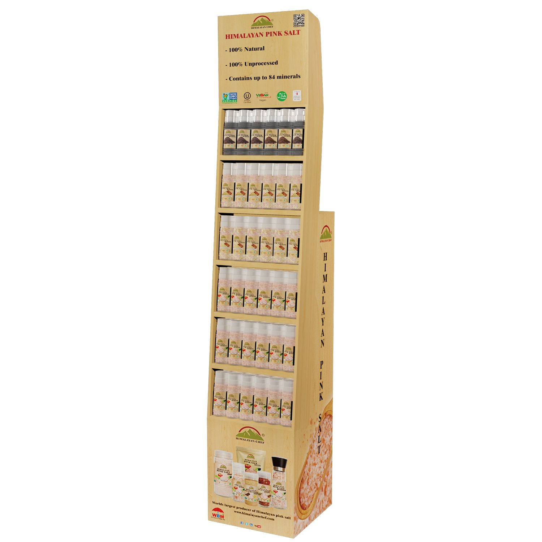 Himalayan Chef Shipper Display Shelf for 72 Small Grinders 36 pcs of 5303,12 pcs of 5326, 6 pcs of 5325 ,6 pcs of 5327, 6 pcs of 5328, 6 pcs of 5329
